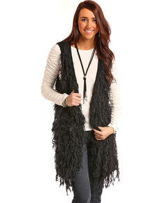 Panhandle Women's Black Eyelash Vest, Black, hi-res