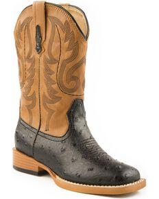 Roper Faux Leather Ostrich Print Cowboy Boots - Square Toe, Black, hi-res