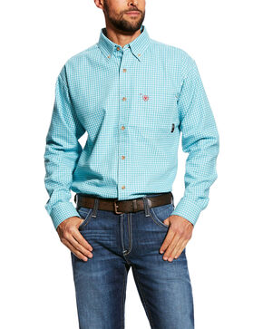 Ariat Men's FR Brent Check Plaid Long Sleeve Work Shirt - Tall , Blue, hi-res
