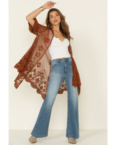 Eyeshadow Women's Rust Copper Lace Mesh Kimono, Rust Copper, hi-res