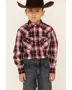 Ely Walker Boys' Burgundy Ombre Plaid Long Sleeve Snap Western Shirt , Burgundy, hi-res