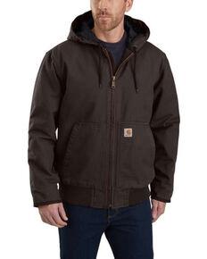 Carhartt Men's Brown Washed Duck Active Hooded Work Jacket - Big , Brown, hi-res