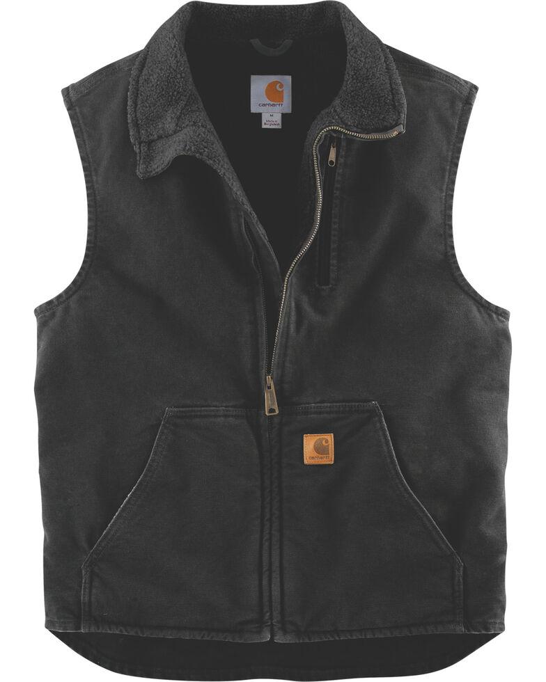 Carhartt Sherpa Lined Sandstone Duck Work Vest, Black, hi-res