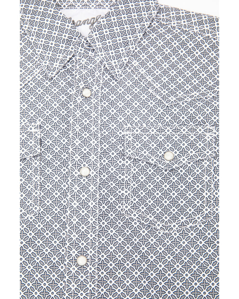Wrangler 20X Boys' Competition Grey Geo Print Long Sleeve Western Shirt  , Grey, hi-res
