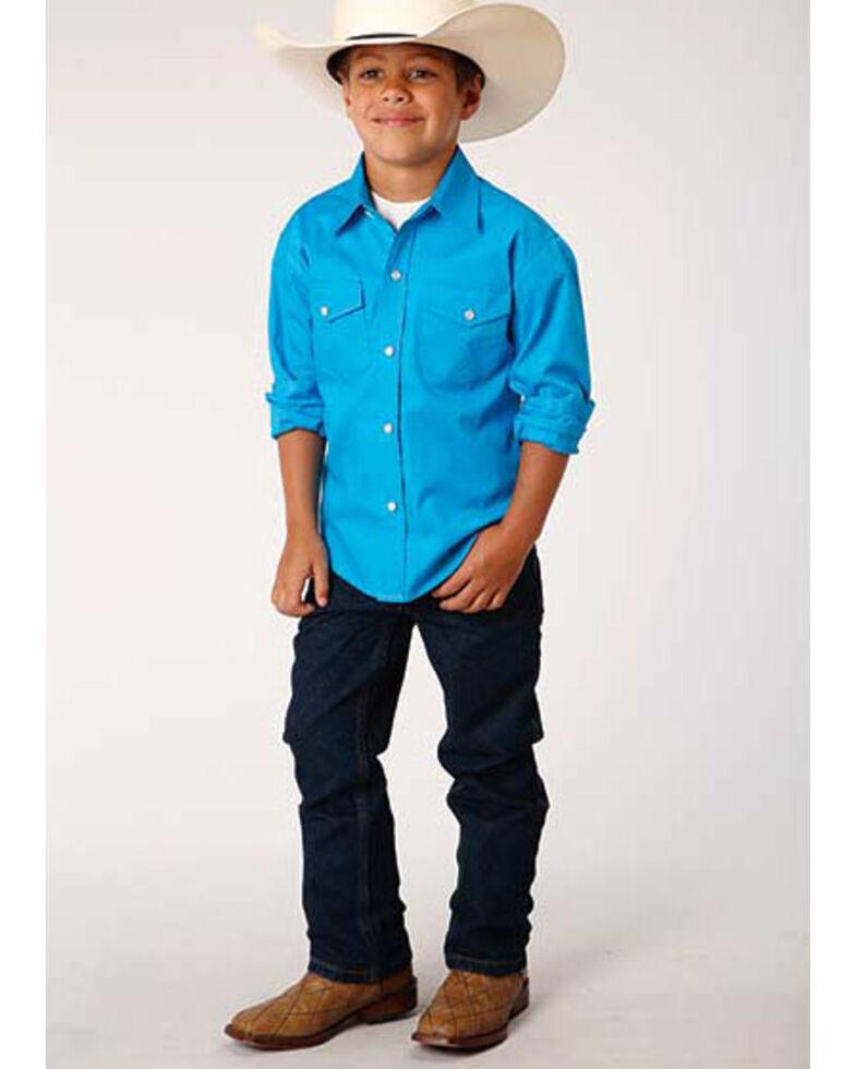 Roper Boys' Amarillo Blue Solid Poplin Long Sleeve Western Shirt , Blue, hi-res
