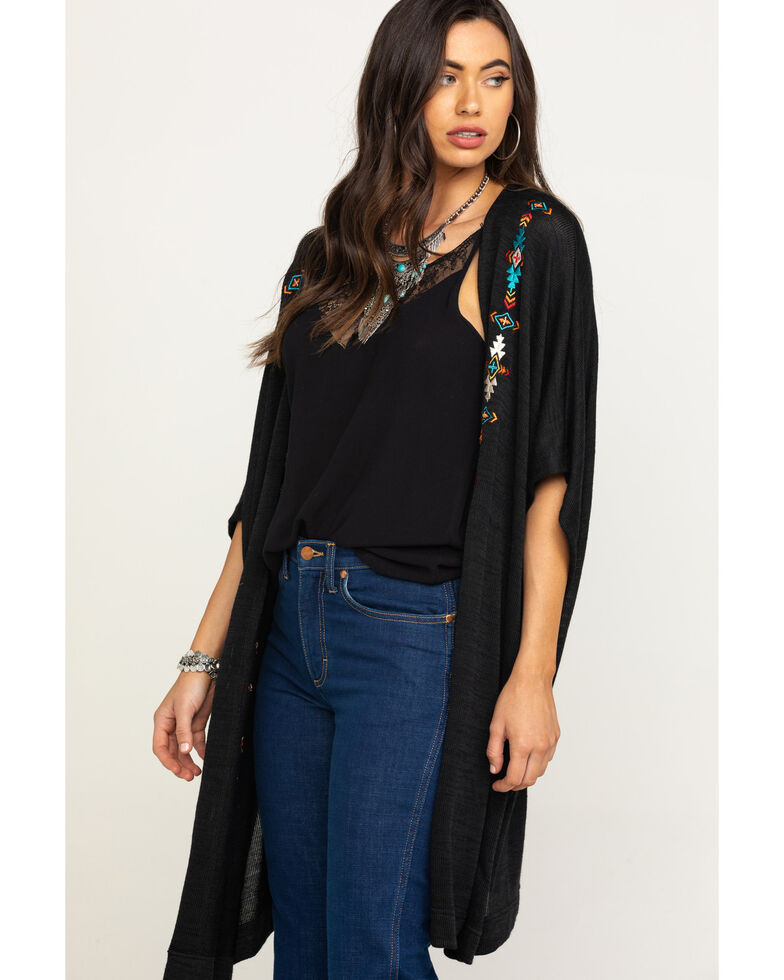 White Label by Panhandle Women's Aztec Embroidered Sweater Kimono, Black, hi-res