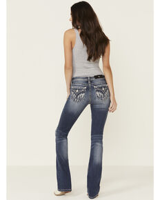 Miss Me Women's Medium Wash Hanging Feather Chloe Bootcut Jeans , Blue, hi-res