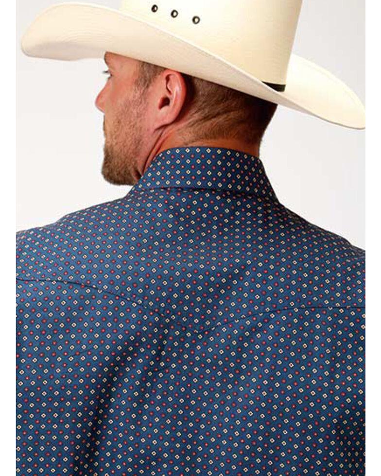 Roper Men's Amarillo Heritage Foulard Geo Print Long Sleeve Western Shirt , Blue, hi-res
