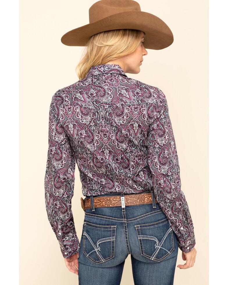 Cinch Women's Purple Paisley Snap Long Sleeve Western Shirt, Purple, hi-res