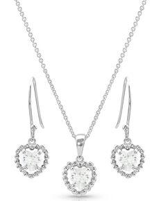 Montana Silversmiths Women's Frozen Heart Jewelry Set, Silver, hi-res