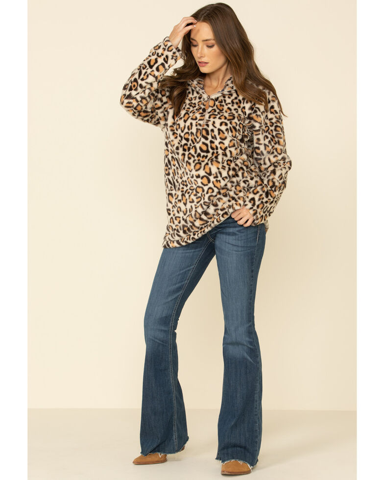 Katydid Women's Leopard Faux Fur Hooded 3/4 Zip Pullover, Leopard, hi-res