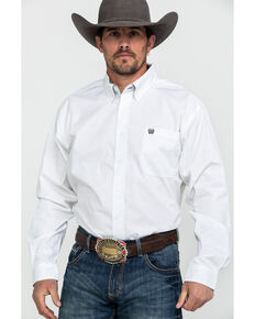 Cinch Men's White Paisley Print Long Sleeve Western Shirt , White, hi-res