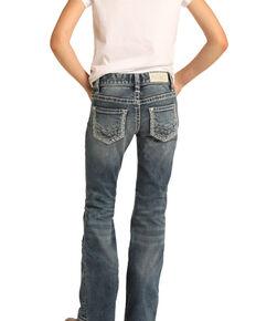 Rock & Roll Denim Girls' Medium Embroidered Bootcut Jeans, Blue, hi-res