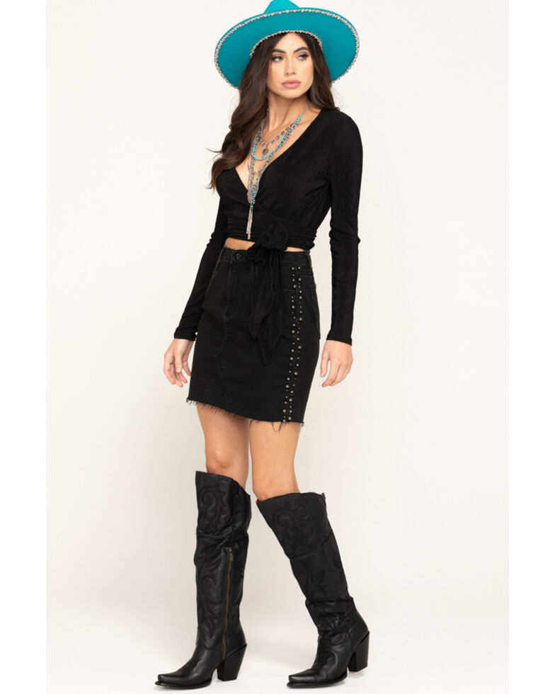 Driftwood Women's Black Pearl Side Denim Mini Skirt  , Black, hi-res
