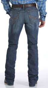 Cinch Men's Ian Performance Mid-Rise Slim Boot Cut Jeans, Indigo, hi-res