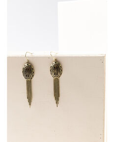 Shyanne Women's Gilded Gold Oval Filagree Tassel Earrings, Gold, hi-res