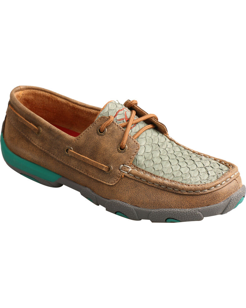 Twisted X Women's Fish Scale Driving Mocs - Moc Toe, Brown, hi-res