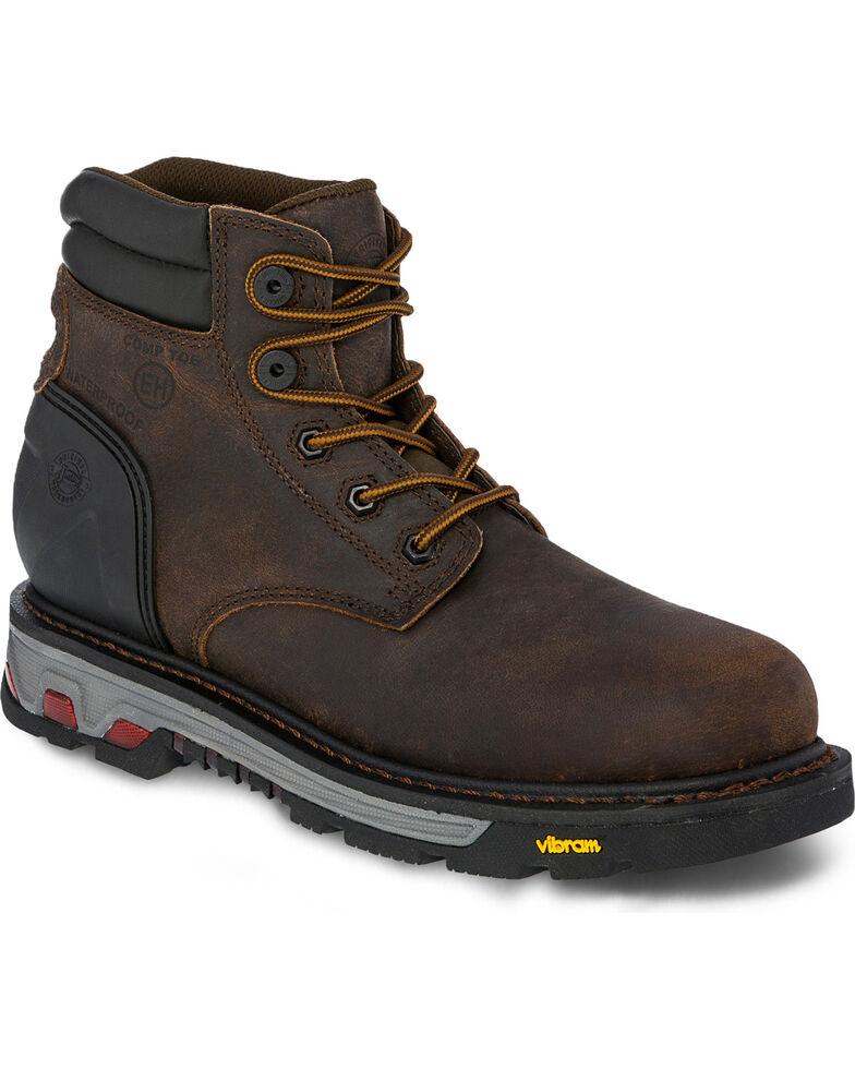 "Justin Men's 6"" Laborer Brown EH Waterproof Work Boots - Composite Toe, Brown, hi-res"
