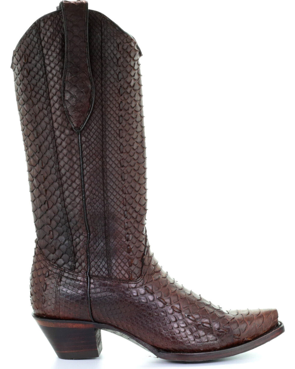 Corral Women's Brown Full Python Woven Cowgirl Boots - Snip Toe, Brown, hi-res