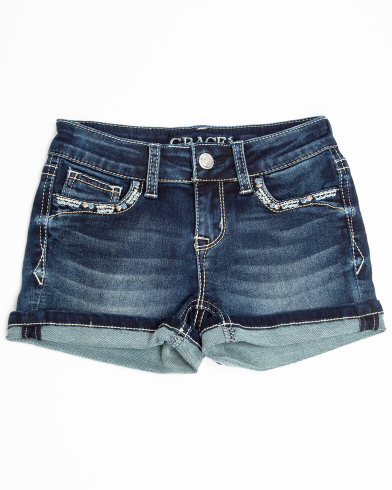 Grace in LA Girls' Aztec Roll Hem Shorts, Blue, hi-res