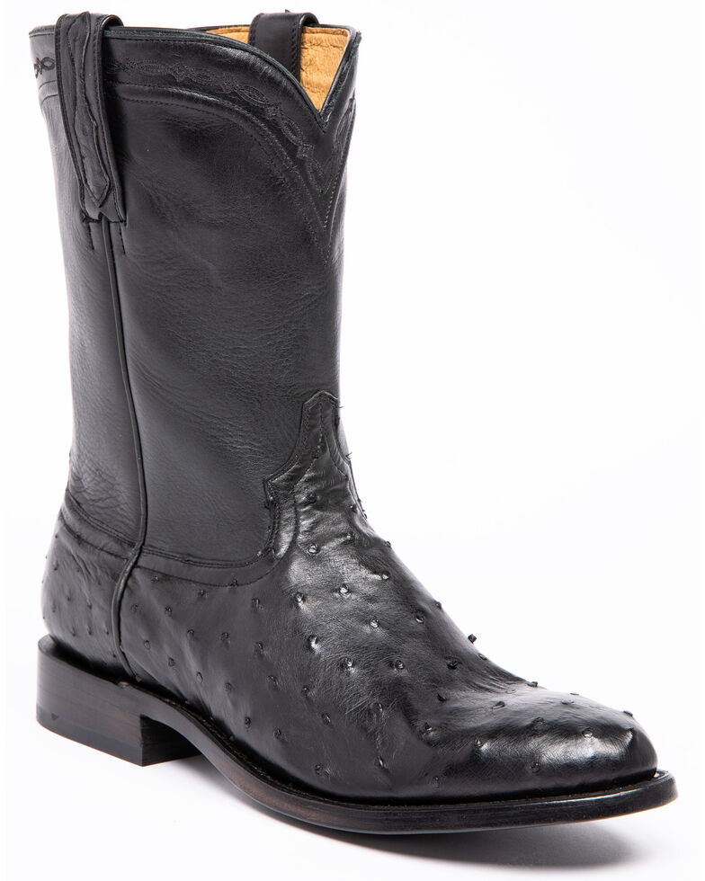 Cody James Men's Black Full Quill Ostrich Western Boots - Round Toe, Black, hi-res