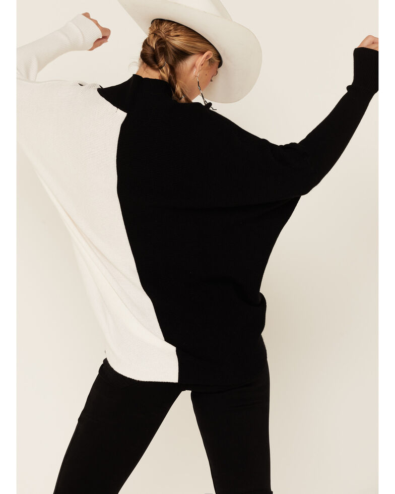 Elan Women's Colorblock Mockneck Sweater, Black, hi-res