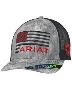 Ariat Men's Grey Flag Shield Logo Mesh-Back Ball Cap , Grey, hi-res
