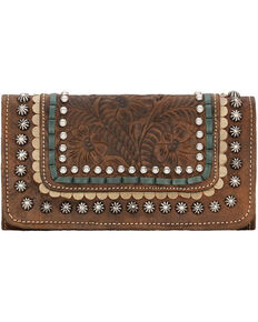 American West Women's Brown Tri-Fold Leather Wallet , Distressed Brown, hi-res