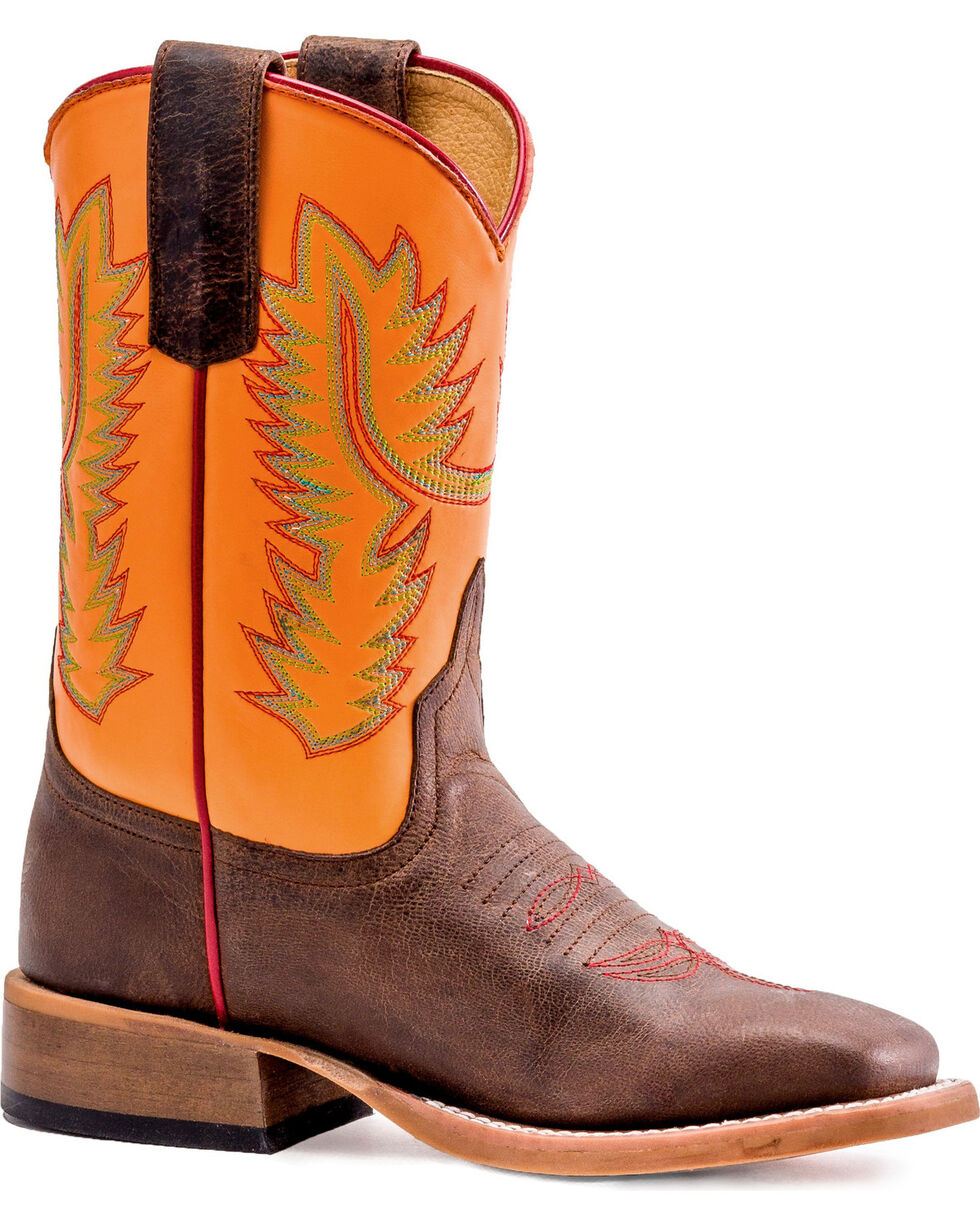 Anderson Bean Boys' Orange Ya Glad To See Me Boots - Square Toe , , hi-res