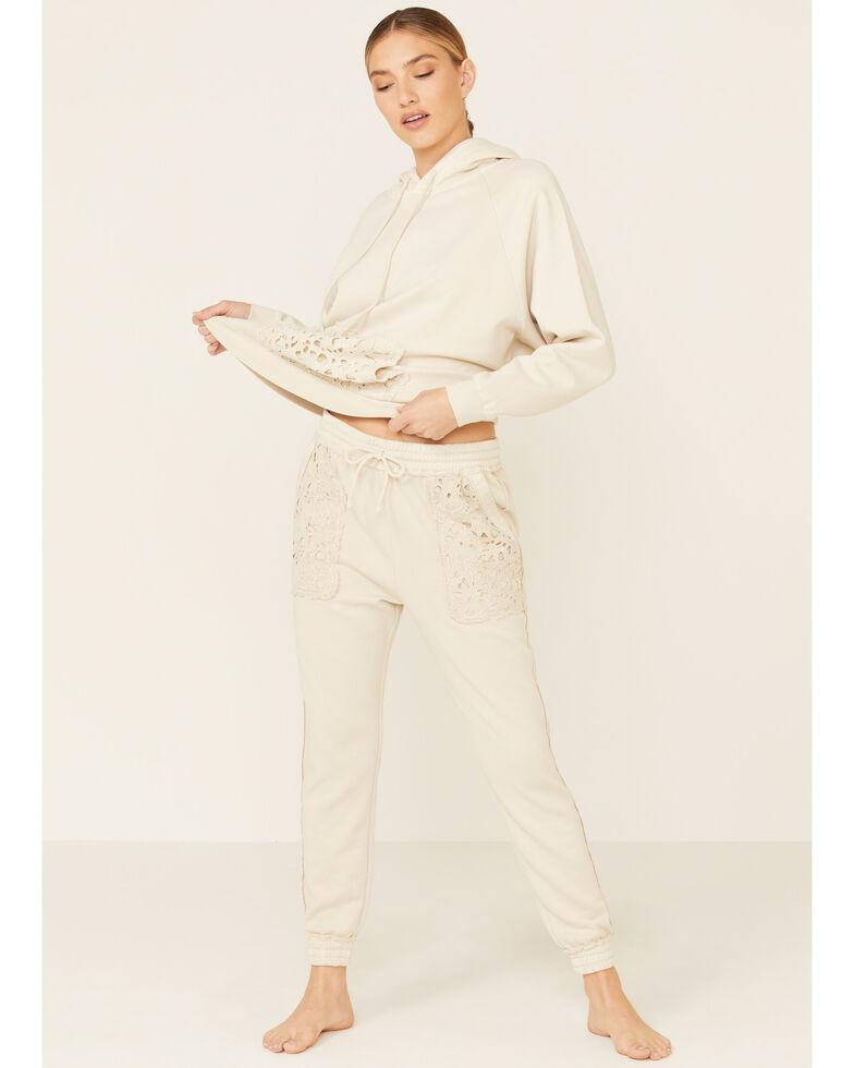 Beyond The Radar Women's Ivory Lace Pocket Hooded Sweatshirt , Ivory, hi-res