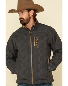 Cinch Men's Charcoal Solid Logo Textured Bonded Jacket , Charcoal, hi-res