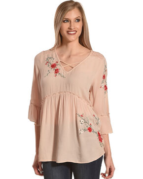 Bila Women's Blush Embroidered Lace Peasant Top , Tan, hi-res