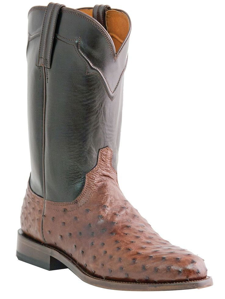 Lucchese Handmade Full Quill Ostrich Napoli Roper Cowboy Boots, Sienna, hi-res