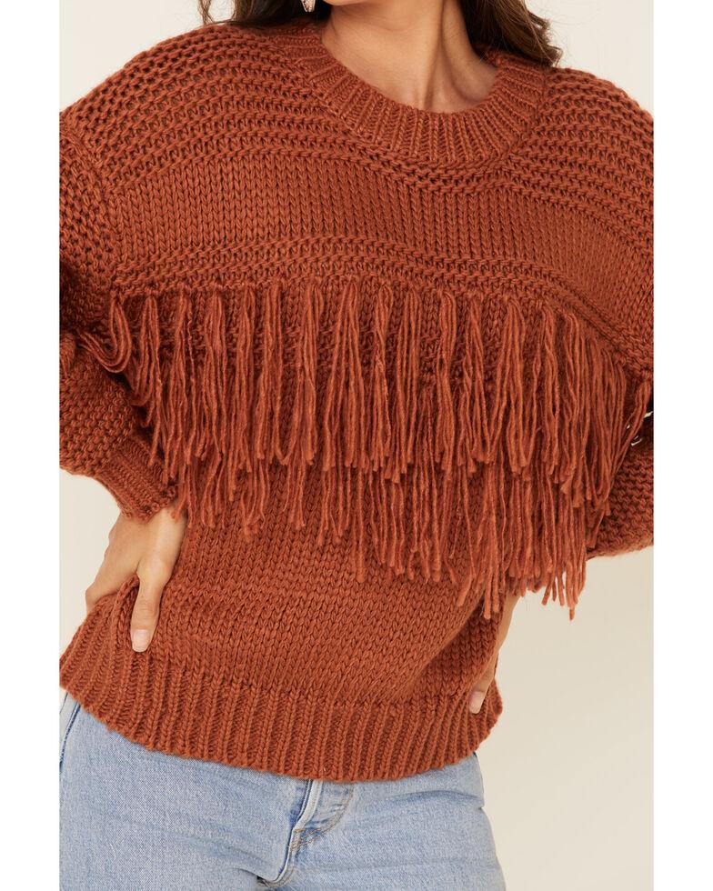 MINKPINK Women's Solid Fringe Crew Chunky Sweater , Bronze, hi-res