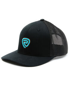 Rock & Roll Denim Men's Black & Turquoise Embroidered Logo Mesh-Back Ball Cap , Black, hi-res