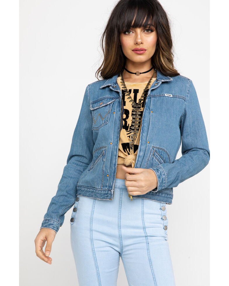 Wrangler Modern Women's Heritage Venus Zip Denim Jacket  , Blue, hi-res