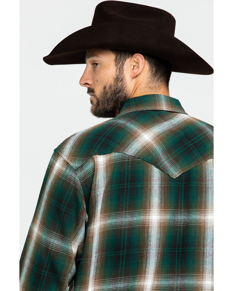 Resistol Men's Mexia Ombre Large Plaid Long Sleeve Western Shirt , Green, hi-res