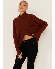 Elan Women's Mockneck Wrap Sweater, Rust Copper, hi-res
