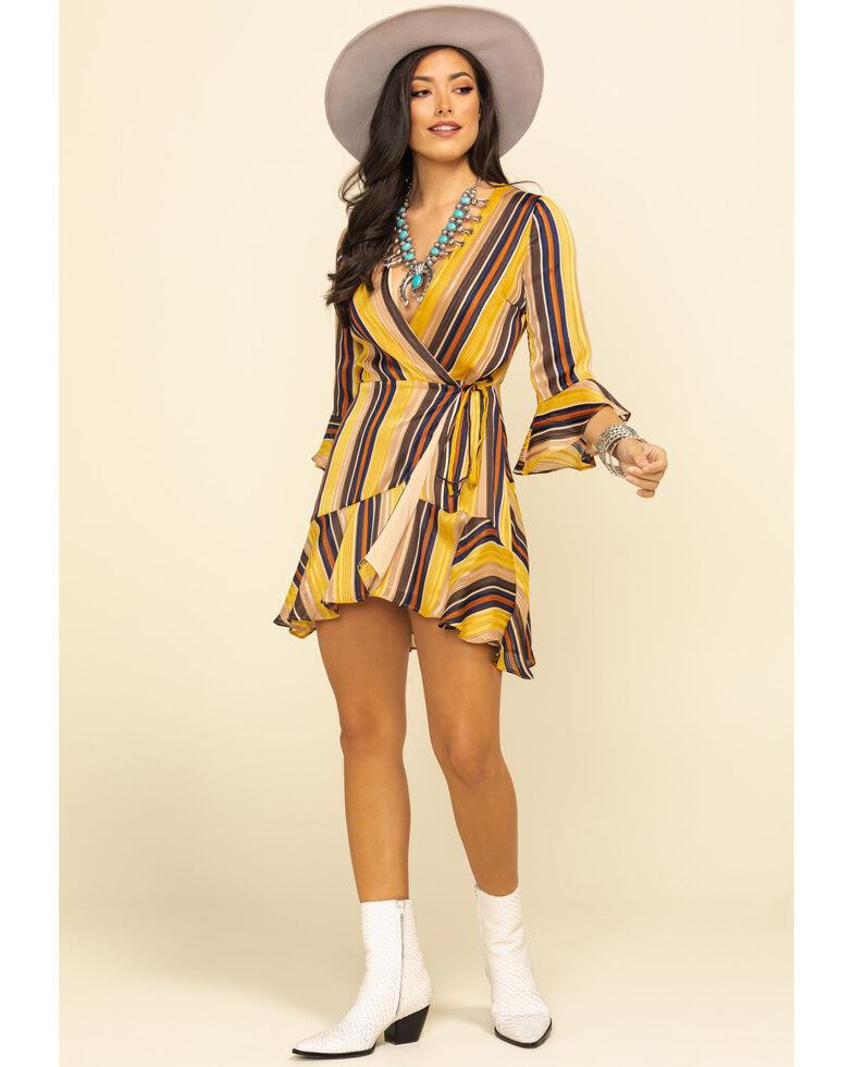 Miss Me Women's Mustard Stripe Surplice Wrap Dress, Dark Yellow, hi-res