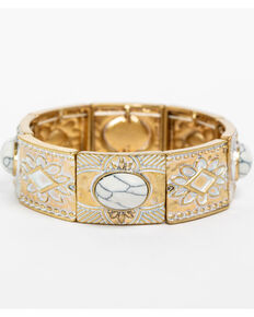 Shyanne Women's White Washed Gold Aztec Stretch Bracelet, Gold, hi-res