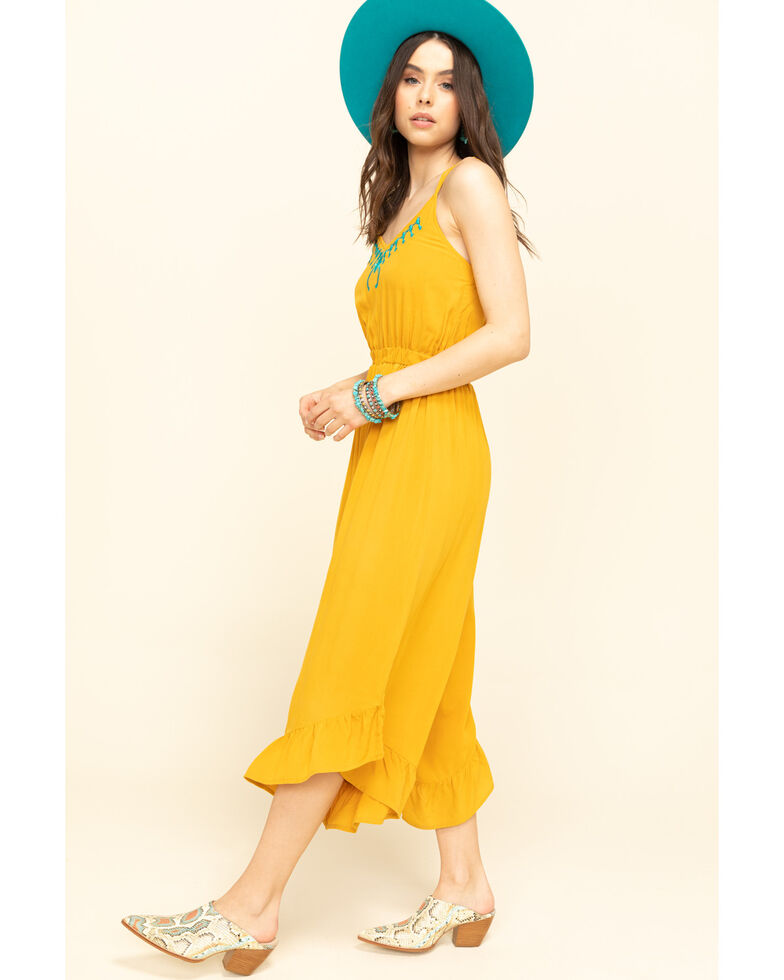 Rock & Roll Denim Women's Squash Blossom Embroidered Culotte Jumpsuit, Dark Yellow, hi-res