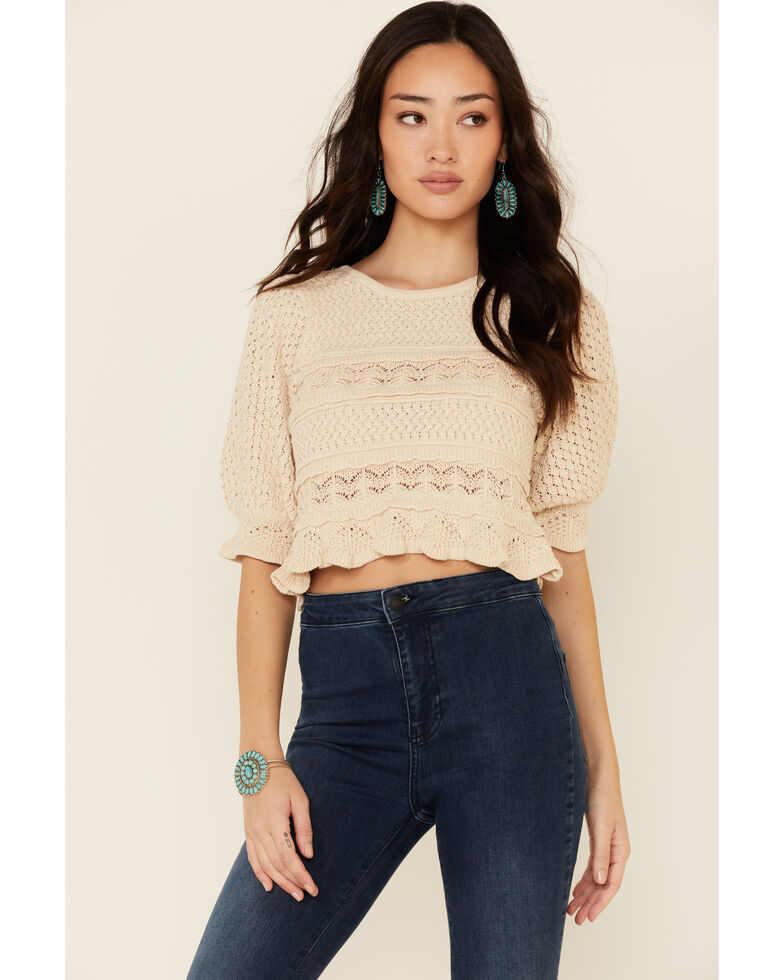 By Together Women's Solid Jacquard Knit Short Sleeve Crop Sweater , Natural, hi-res