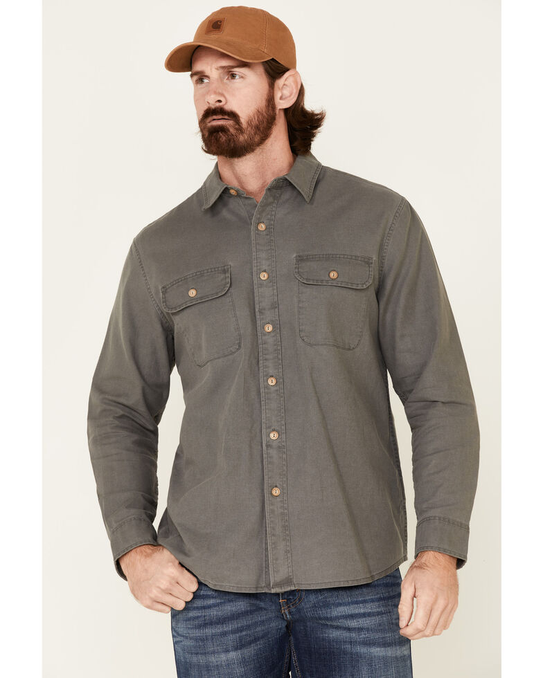 Pendleton Men's Solid Charcoal Beach Shack Long Sleeve Button-Down Western Shirt , Charcoal, hi-res