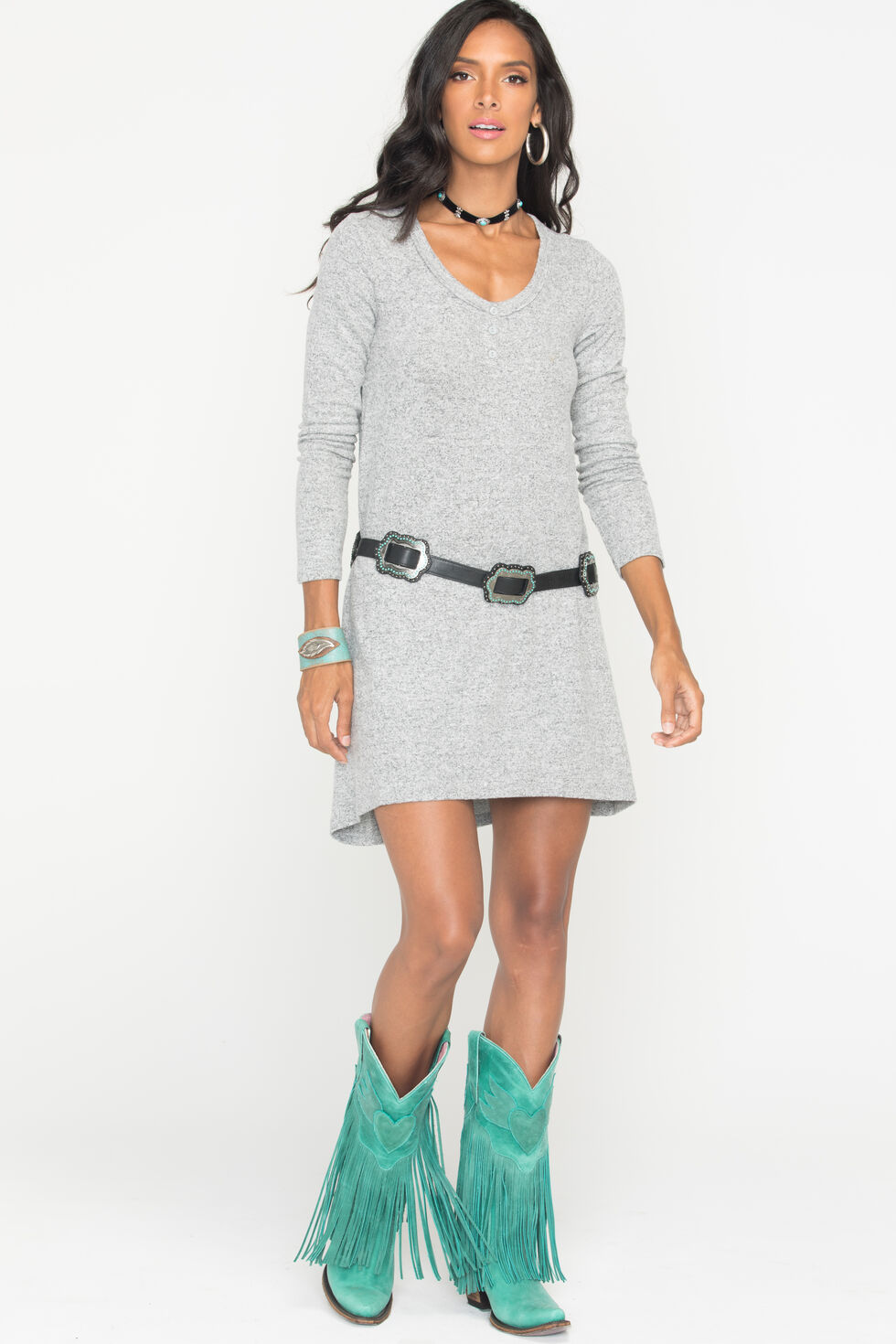 Z Supply Women's Grey Marled Sweater Dress , Hthr Grey, hi-res