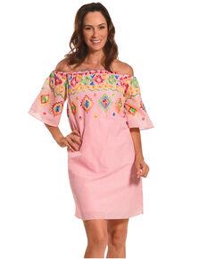 ff397ab1e74 CES FEMME Women s Pink Embroidered Off Shoulder Dress