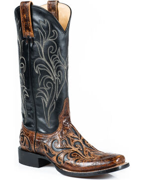 Stetson Women's Caroline Vintage Brown Overlay Western Boots - Square Toe, Brown, hi-res