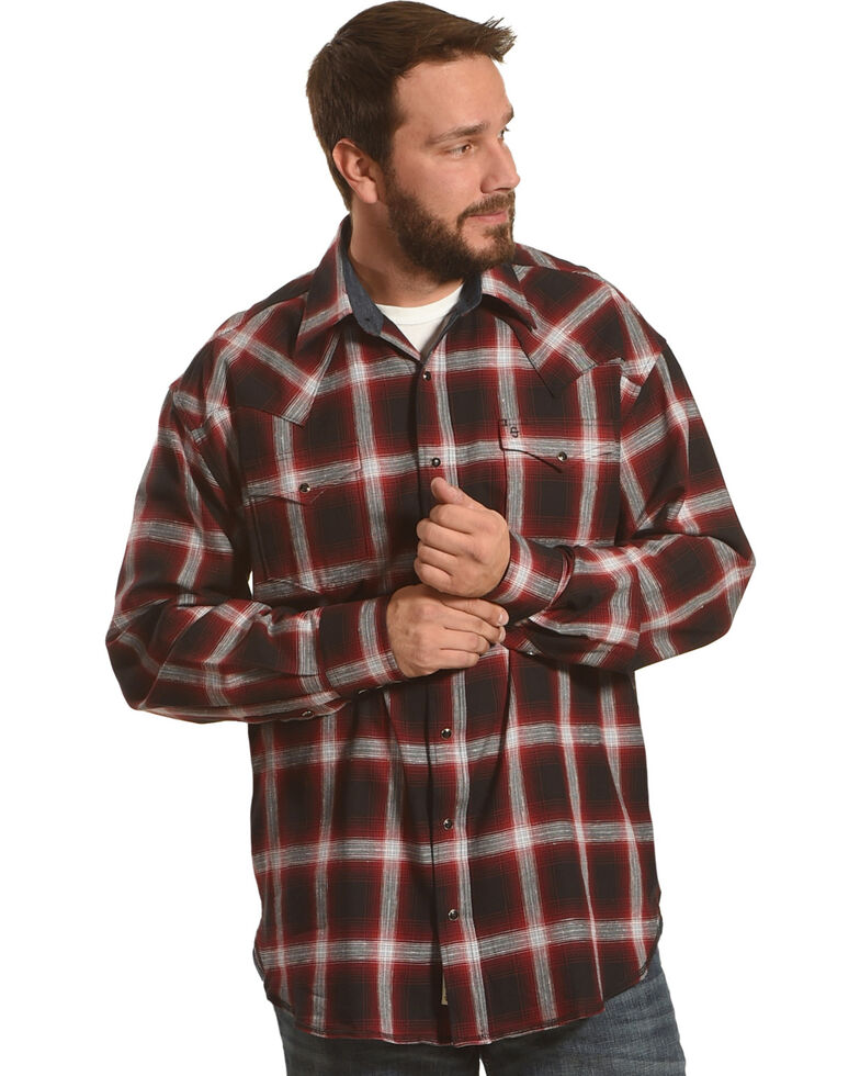 090ecbd0da1c7 Stetson Men s Red Plaid Long Sleeve Western Shirt - Country Outfitter