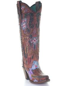 Corral Women's Honey Tooled Western Boots - Snip Toe, Honey, hi-res