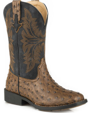 Roper Youth Boys' Brown Ostrich Print Cowboy Boots - Square Toe, Brown, hi-res