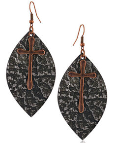 Montana Silversmiths Women's Natured Crosses Soft Leather Earrings, No Color, hi-res